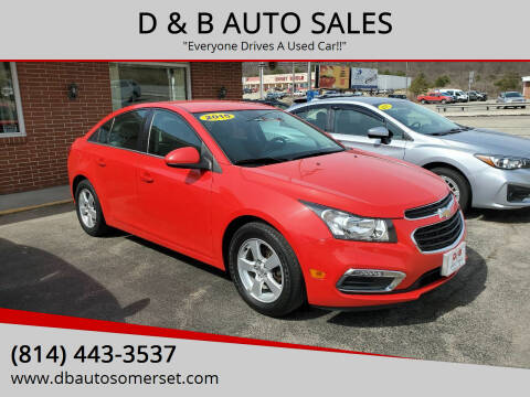 2015 Chevrolet Cruze for sale at D & B AUTO SALES in Somerset PA