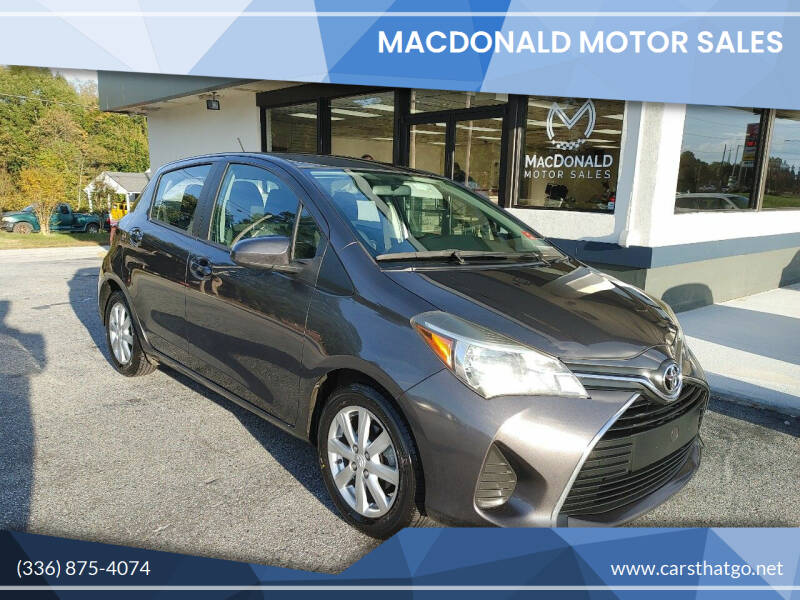 2015 Toyota Yaris for sale at MacDonald Motor Sales in High Point NC
