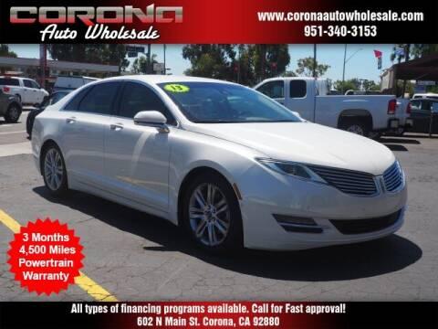 2013 Lincoln MKZ for sale at Corona Auto Wholesale in Corona CA