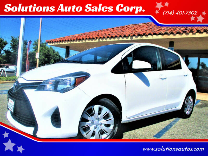 2016 Toyota Yaris for sale at Solutions Auto Sales Corp. in Orange CA