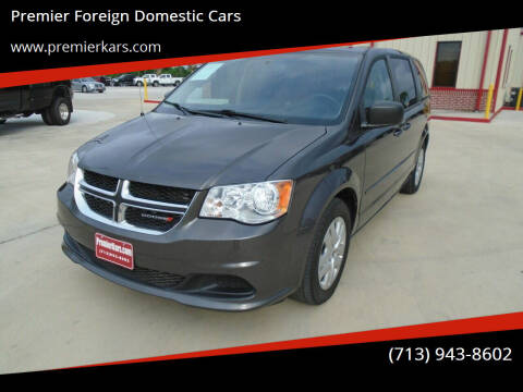 2015 Dodge Grand Caravan for sale at Premier Foreign Domestic Cars in Houston TX