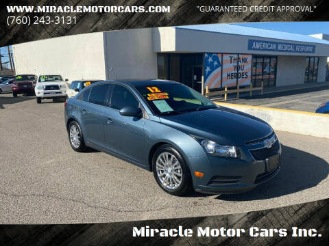 2012 Chevrolet Cruze for sale at Miracle Motor Cars Inc. in Victorville CA