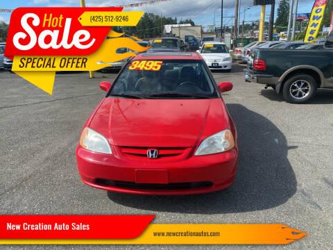 2002 Honda Civic for sale at New Creation Auto Sales in Everett WA
