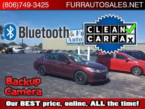 2016 Honda Accord for sale at FURR AUTO SALES in Lubbock TX