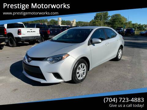 2015 Toyota Corolla for sale at Prestige Motorworks in Concord NC