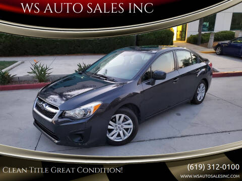 2013 Subaru Impreza for sale at WS AUTO SALES INC in El Cajon CA