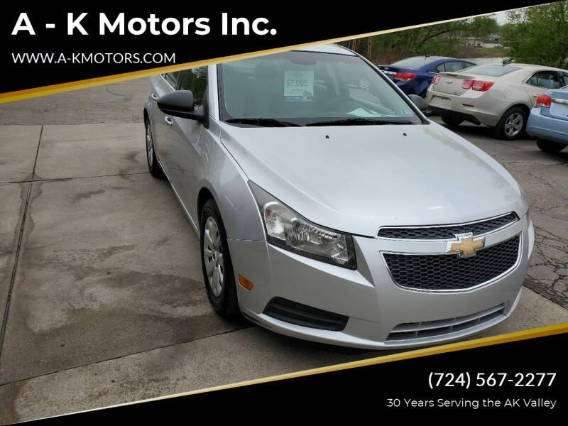 2011 Chevrolet Cruze for sale at A - K Motors Inc. in Vandergrift PA