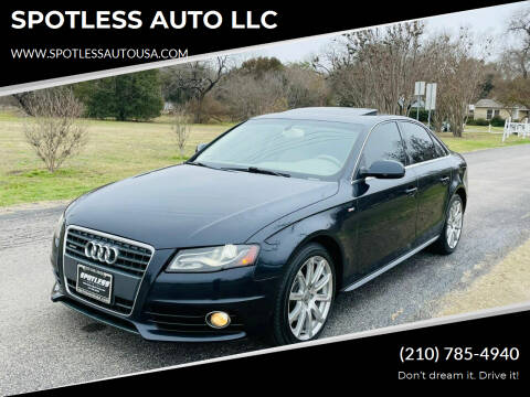 2012 Audi A4 for sale at SPOTLESS AUTO LLC in San Antonio TX