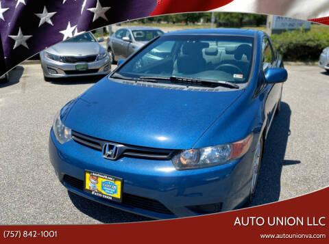 2007 Honda Civic for sale at Auto Union LLC in Virginia Beach VA