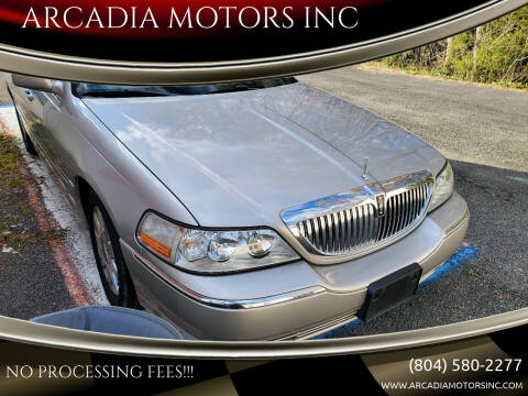 2003 Lincoln Town Car for sale at ARCADIA MOTORS INC in Heathsville VA