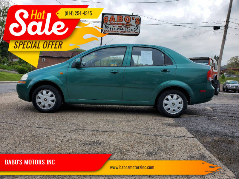 2004 Chevrolet Aveo for sale at BABO'S MOTORS INC in Johnstown PA