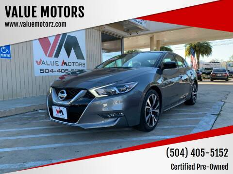 2017 Nissan Maxima for sale at VALUE MOTORS in Kenner LA