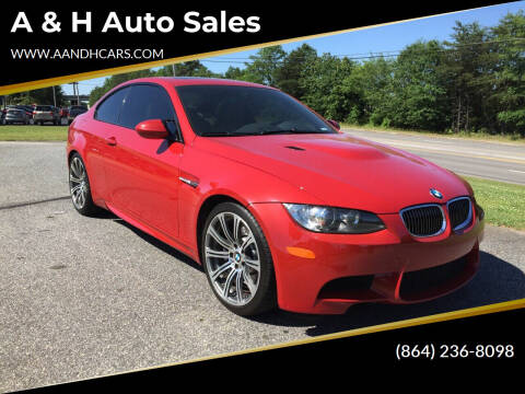 2008 BMW M3 for sale at A & H Auto Sales in Greenville SC