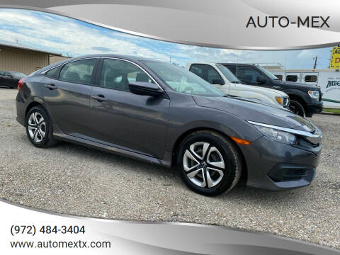 2016 Honda Civic for sale at AUTO-MEX in Caddo Mills TX