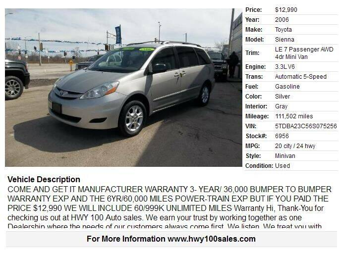 2006 Toyota Sienna for sale at Highway 100 & Loomis Road Sales in Franklin WI