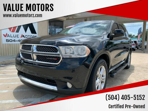 2013 Dodge Durango for sale at VALUE MOTORS in Kenner LA