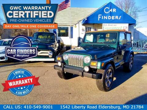 2000 Jeep Wrangler for sale at CAR FINDERS OF MARYLAND LLC in Eldersburg MD