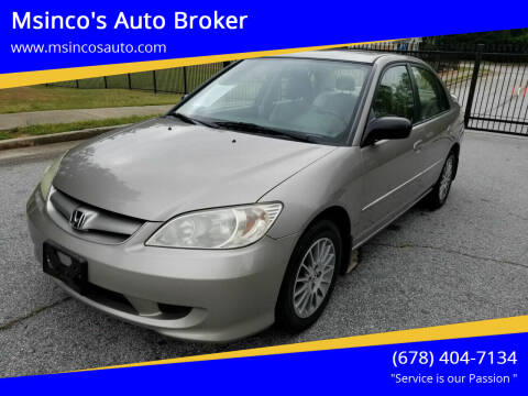 2005 Honda Civic for sale at Msinco's Auto Broker in Snellville GA