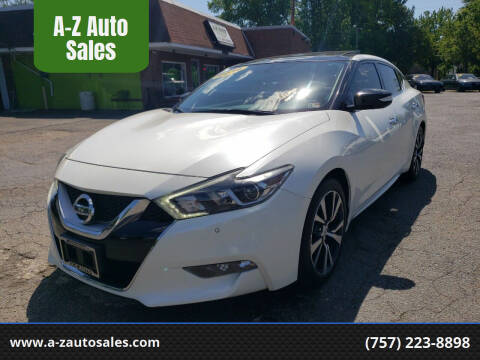 2016 Nissan Maxima for sale at A-Z Auto Sales in Newport News VA