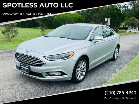 2017 Ford Fusion Hybrid for sale at SPOTLESS AUTO LLC in San Antonio TX