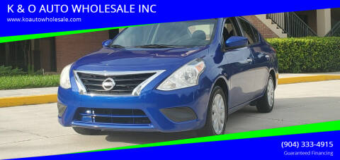 2016 Nissan Versa for sale at K & O AUTO WHOLESALE INC in Jacksonville FL