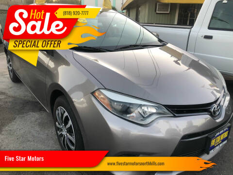 2015 Toyota Corolla for sale at Five Star Motors in North Hills CA