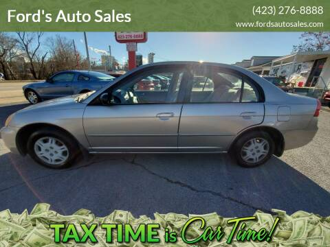 2002 Honda Civic for sale at Ford's Auto Sales in Kingsport TN
