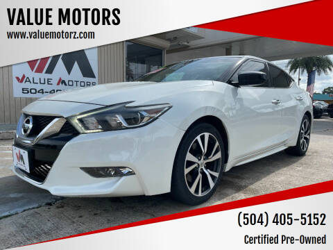 2016 Nissan Maxima for sale at VALUE MOTORS in Kenner LA
