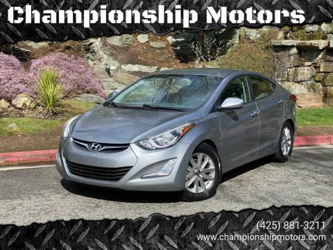 2014 Hyundai Elantra for sale at Championship Motors in Redmond WA