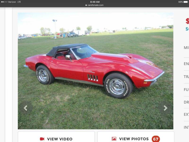 1969 Chevrolet Corvette for sale at Carroll Street Auto in Manchester NH