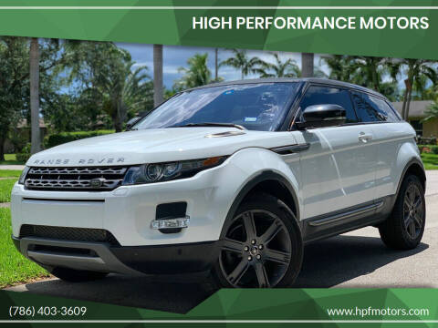 2013 Land Rover Range Rover Evoque Coupe for sale at HIGH PERFORMANCE MOTORS in Hollywood FL