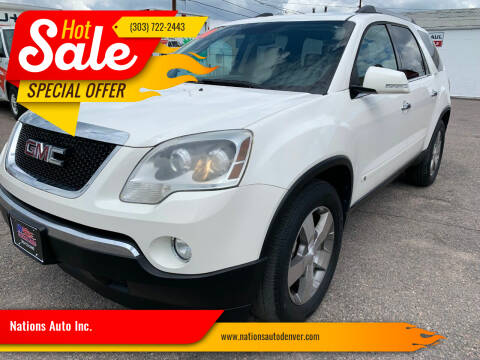 2010 GMC Acadia for sale at Nations Auto Inc. in Denver CO