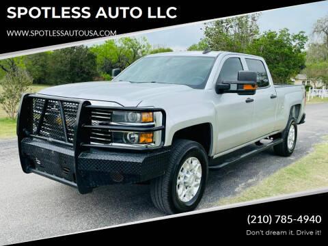 2015 Chevrolet Silverado 2500HD for sale at SPOTLESS AUTO LLC in San Antonio TX
