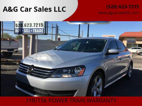 2013 Volkswagen Passat for sale at A&G Car Sales  LLC in Tucson AZ