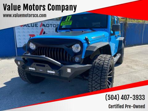 2017 Jeep Wrangler Unlimited for sale at Value Motors Company in Marrero LA