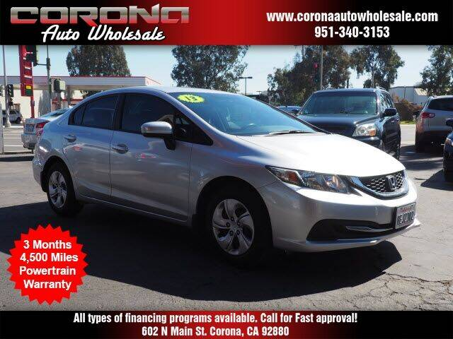 2013 Honda Civic for sale at Corona Auto Wholesale in Corona CA
