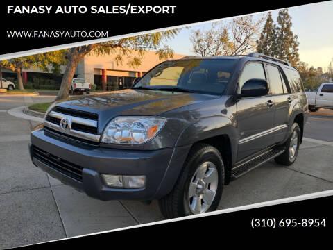 2005 Toyota 4Runner for sale at FANASY AUTO SALES/EXPORT in Yorba Linda CA