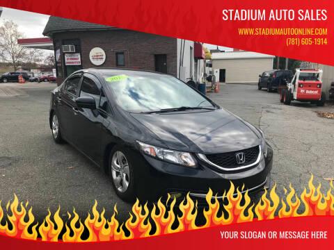 2015 Honda Civic for sale at Stadium Auto Sales in Everett MA