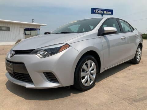 2016 Toyota Corolla for sale at Keller Motors in Palco KS