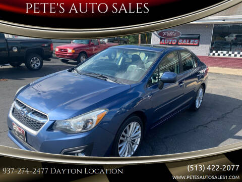 2012 Subaru Impreza for sale at PETE'S AUTO SALES - Dayton in Dayton OH