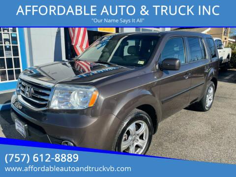 2012 Honda Pilot for sale at AFFORDABLE AUTO & TRUCK INC in Virginia Beach VA