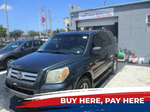 2006 Honda Pilot for sale at K & V AUTO SALES LLC in Hollywood FL