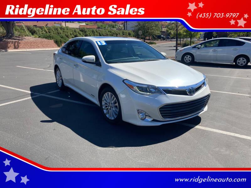 2013 Toyota Avalon Hybrid for sale at Ridgeline Auto Sales in Saint George UT
