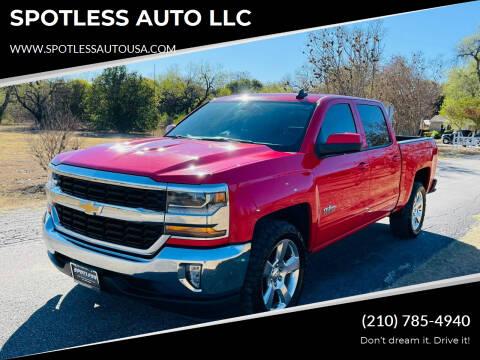 2016 Chevrolet Silverado 1500 for sale at SPOTLESS AUTO LLC in San Antonio TX