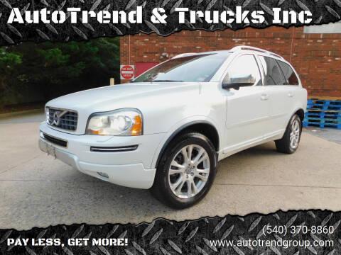 2013 Volvo XC90 for sale at AutoTrend & Trucks Inc in Fredericksburg VA