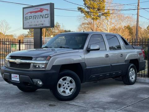 2002 Chevrolet Avalanche for sale at Spring Motors in Spring TX
