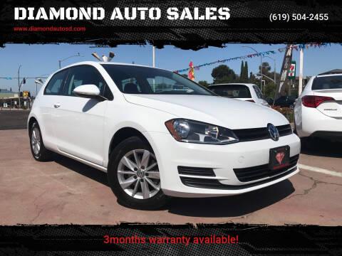2015 Volkswagen Golf for sale at DIAMOND AUTO SALES in El Cajon CA