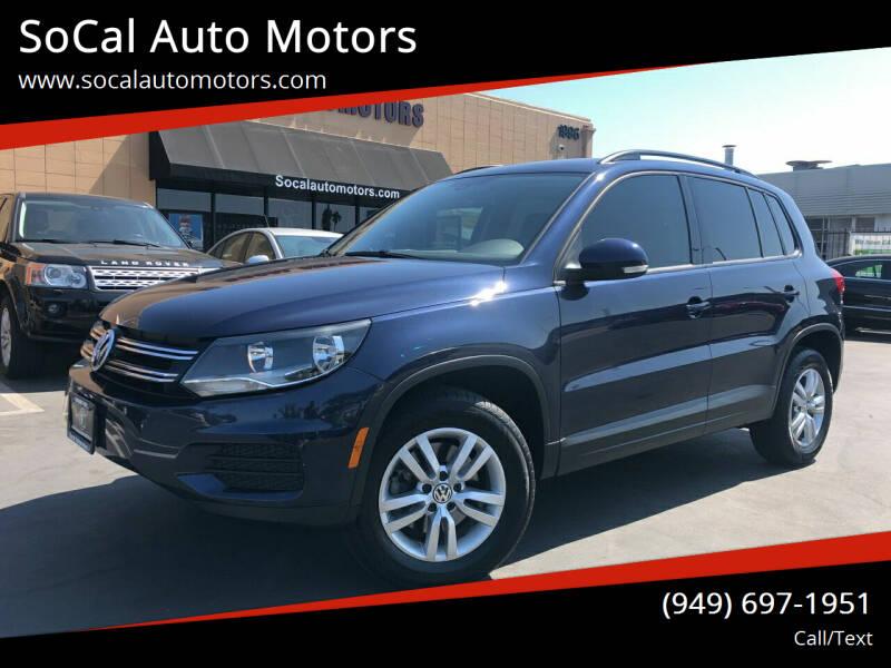 2016 Volkswagen Tiguan for sale at SoCal Auto Motors in Costa Mesa CA