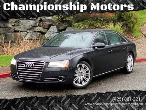 2013 Audi A8 L for sale at Mudarri Motorsports - Championship Motors in Redmond WA