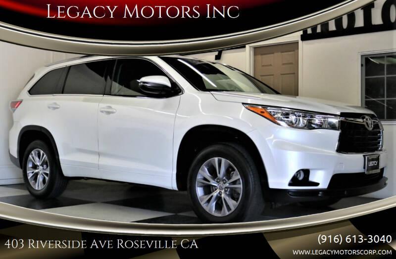 2015 Toyota Highlander for sale at Legacy Motors Inc in Roseville CA